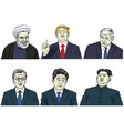 set of world leaders cartoon caricature vector image vector image