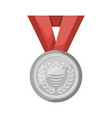 silver medal with red ribbon icon vector image vector image