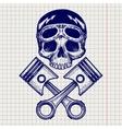 sketch biker rider skull vector image