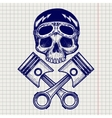 Sketch of biker rider skull vector image