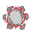 small red explosion with clouds isolated vector image vector image