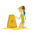 summer beach activities girl build sand castle vector image