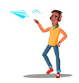 teenager launcheing a paper plane isolated vector image