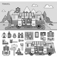 travel van near sea line monochrome vector image vector image