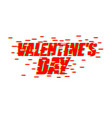 valentines day glitch effect lovers day emblem vector image