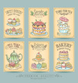 vintage card collection hand-drawn cakes vector image vector image