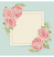 Vintage card with roses and square border vector image vector image