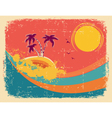 Vintage tropical card on old paper texture vector image vector image