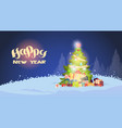 winter landscape beautiful christmas tree shining vector image