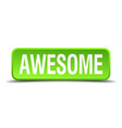 awesome green 3d realistic square isolated button vector image vector image