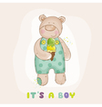 baby bear with ice cream - shower card vector image vector image