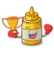 boxing winner homemade mustard sauce in cartoon vector image vector image