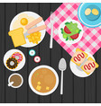 breakfast plate with sausage sandwich and egg vector image