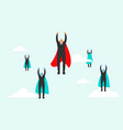 businessman with red cape fly pass his competitor vector image vector image