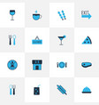 cafe icons colored set with restaurant closed vector image