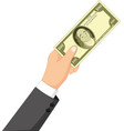 cartoon money in the hand vector image vector image