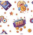 casino gambling games and dollar coins seamless vector image