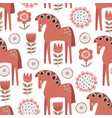 christmas scandinavian seamless pattern with red vector image