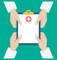 clipboard in his hand doctor doctor takes notes vector image vector image