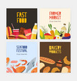 collection square cards flyer templates vector image vector image