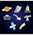 Color set with astronomy and space icons fo vector image