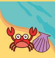 crab crustacean clam beach sea life cartoon vector image vector image