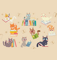 cute cartoon cats character reading a book pack vector image