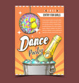 dance party with alcohol advertising poster vector image vector image