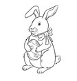 easter bunny with egg coloring book vector image