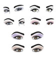 female eyes of different colors with makeup vector image