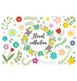 Flowers and leaves set Floral collection isolated vector image