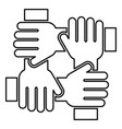 four hand holding together team work concept icon vector image