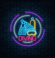 glowing neon sign of diving beach club with vector image vector image