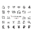 Hand-drawn sketch web icon set - economy money vector image