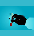 hand holding blood sample covid-19 vector image