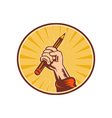 Hand holding pencil with sunburst vector image vector image