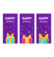 happy birthday banners set happy holidays vector image vector image
