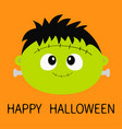 happy halloween frankenstein zombie monster round vector image