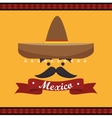 icon hat mustache mexican culture design vector image