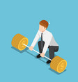 isometric businessman trying to lifting up vector image vector image