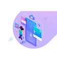 isometric concept young girl running program vector image