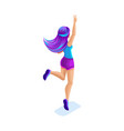isometrics girl jumping having fun happy vector image