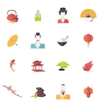Japan icons flat vector image vector image
