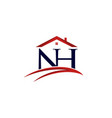 letter nh home insurance logo design vector image vector image