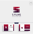 letter s movie cinema film simple logo template vector image