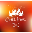 lettering hand drawn logo with red fire vector image