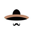 mexican man face with sombrero and mustache vector image