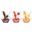 milk chocolate fruit juice flows vector image vector image