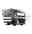 monochromatic classic american truck vector image