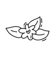 monoline flower with heart valentines day vector image vector image